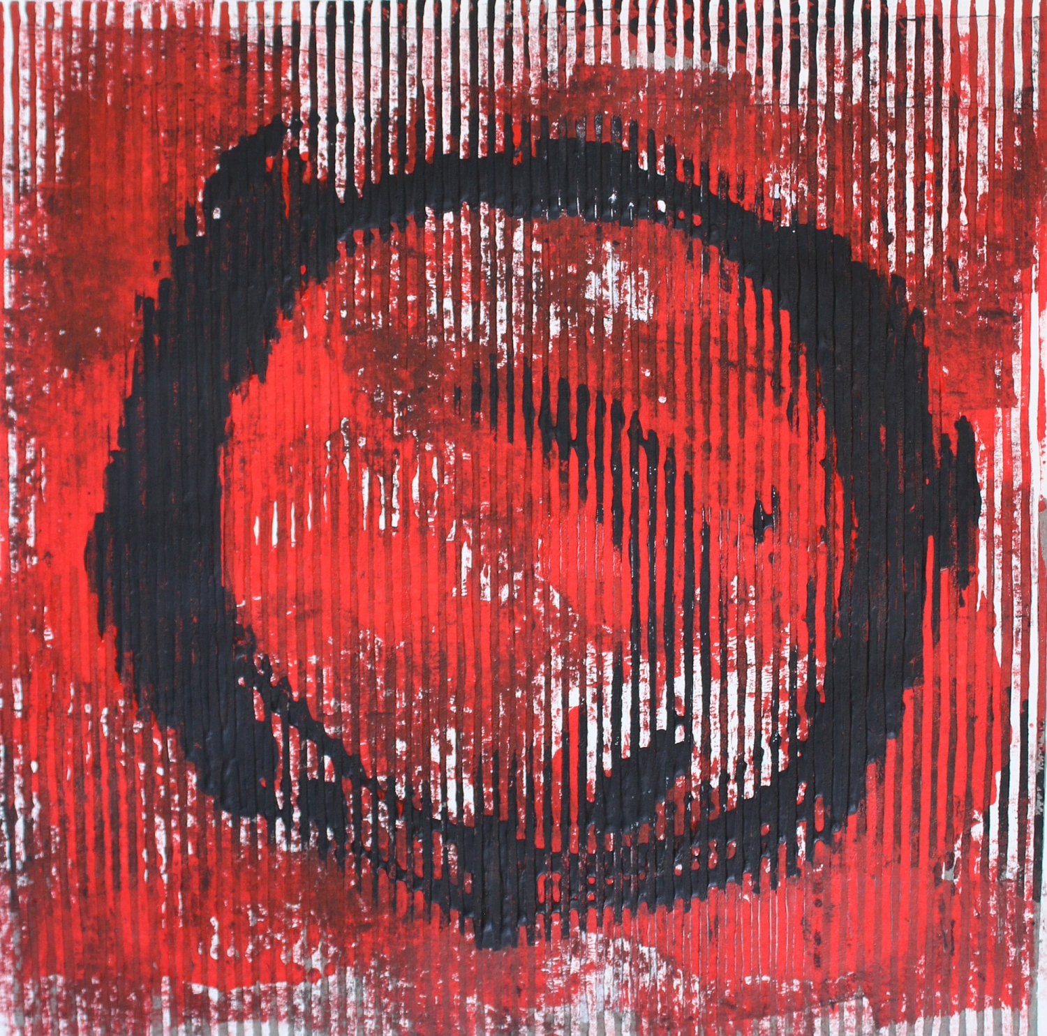 Black and Red Circle Monoprint